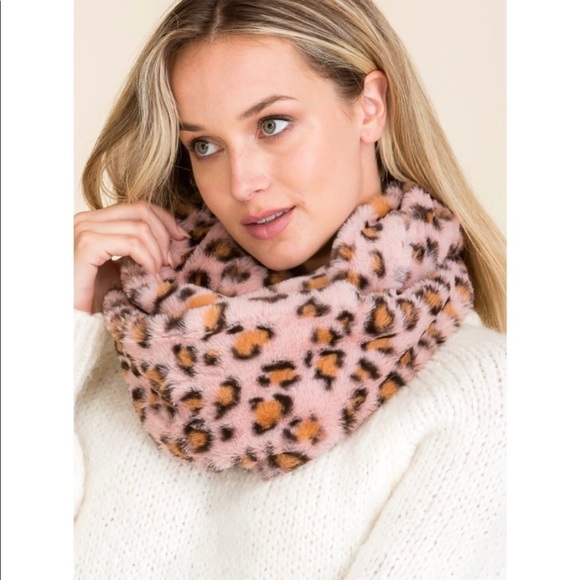 New! Pink leopard print Soft infinity Scarf Snood
